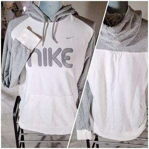 Nike White & Grey Long Sleeve Spellout Hoodie